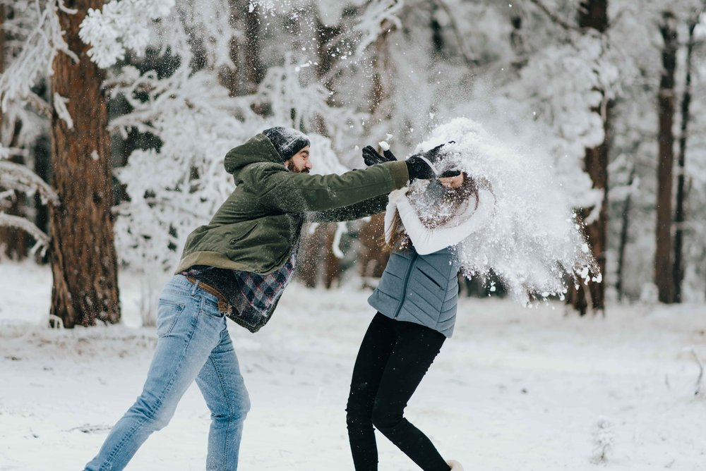 Nik and Tani in the middle of their epic snowball fight!