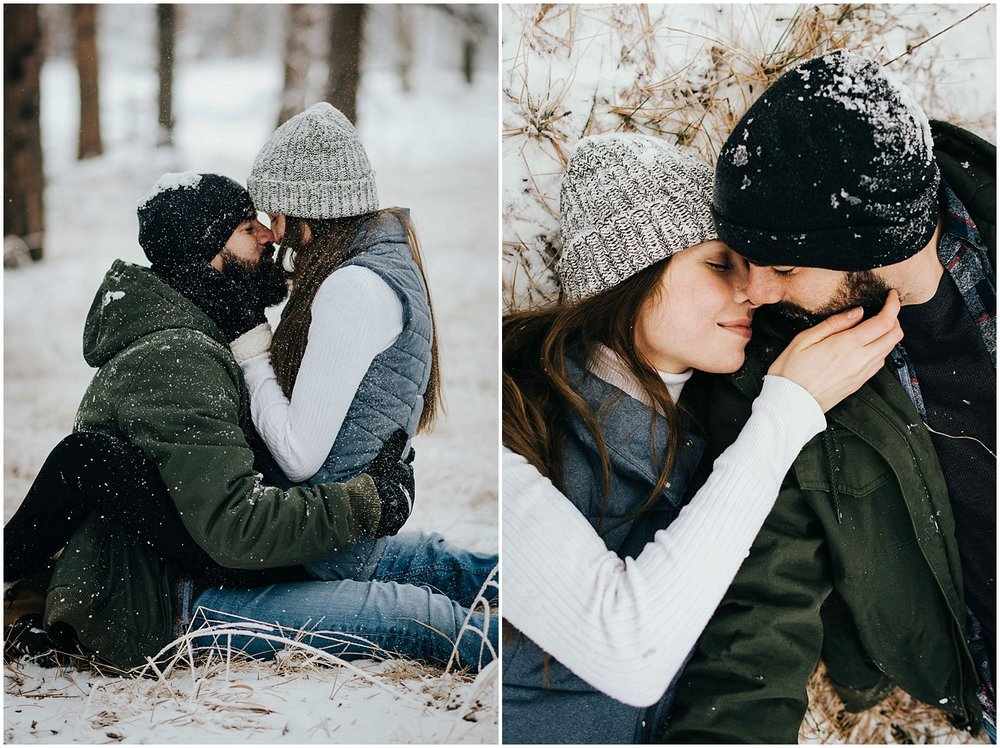 Nik and Tani during their snowy engagement session.