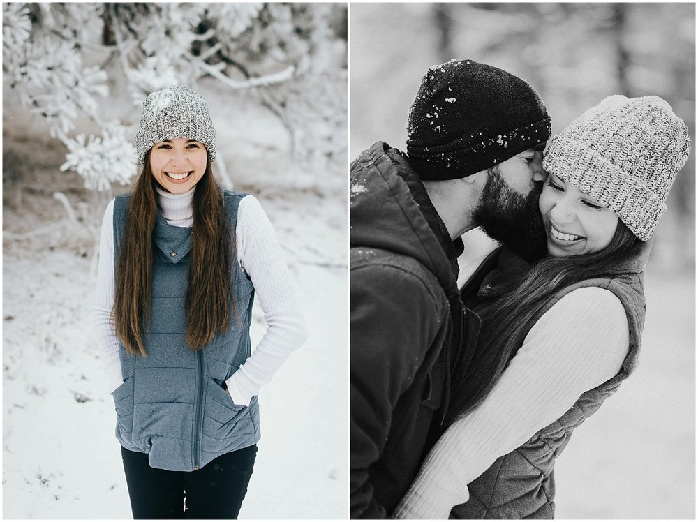 Tani by herself on the left and Nik kissing Tani on the right. Both were taken during their engagement session in the mountains of Colorado.