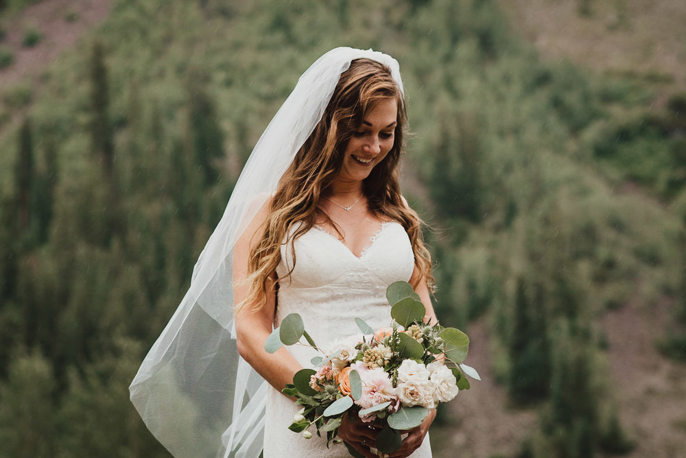 Heather during her Maroon Bells Wedding Ceremony