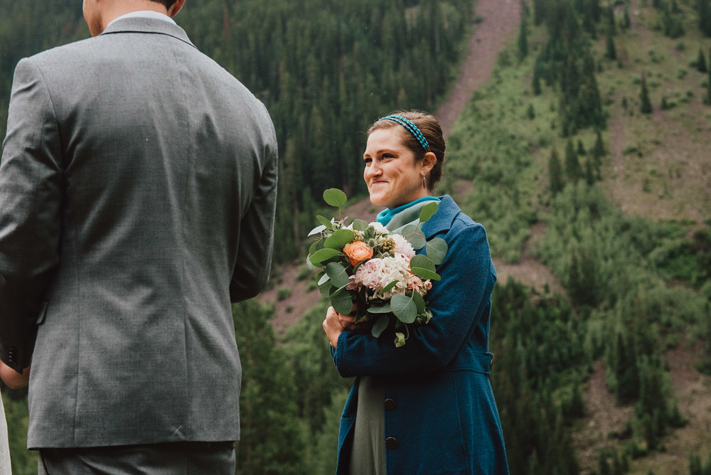 Maroon Bells Wedding with their officiant.