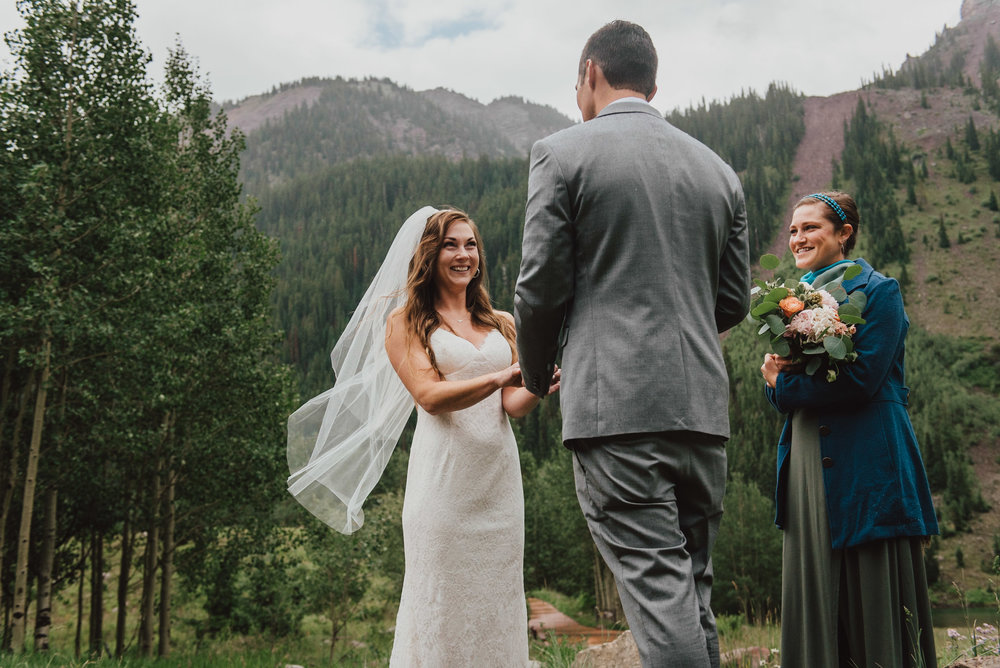 Heather laughing during Darrens vows.