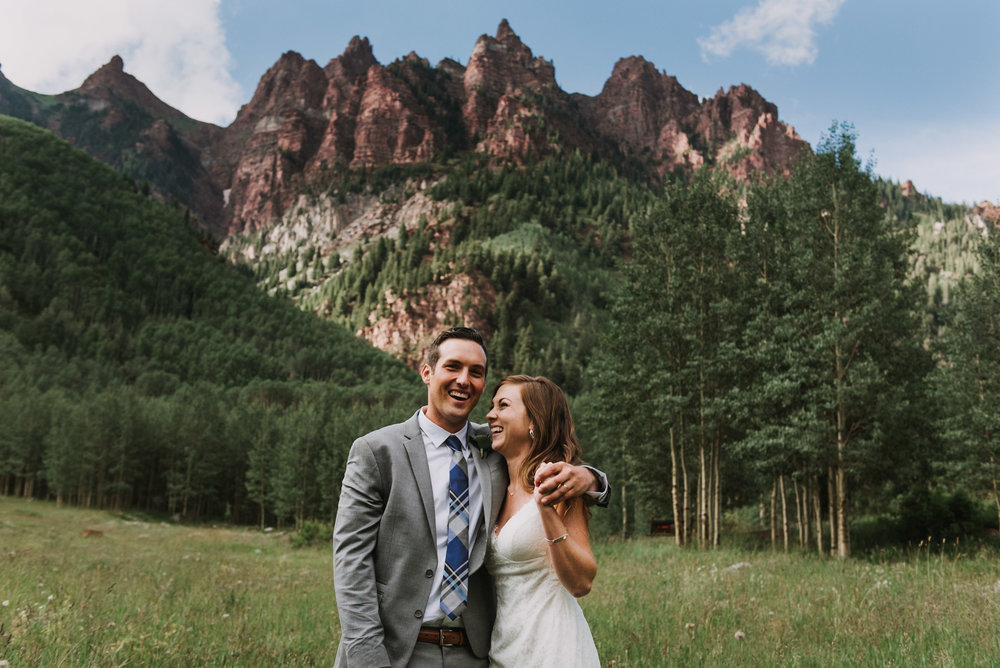 Heather and Darren when the sun came out during their Maroon Bells wedding.