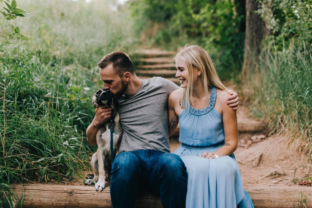 Connor, Betsy and Teddy during their Mount Sanitas, Boulder engagement session.