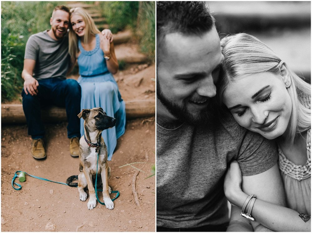 Betsy and Connor snuggling during their Mount Sanitas engagement session.