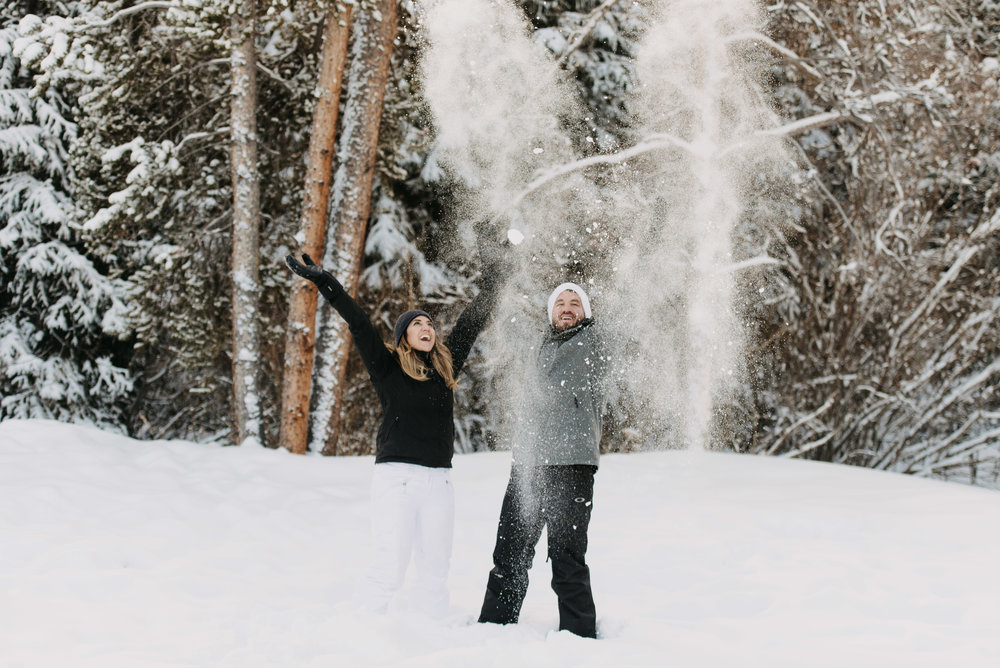 snowboarding engagement session breckenridge colorado