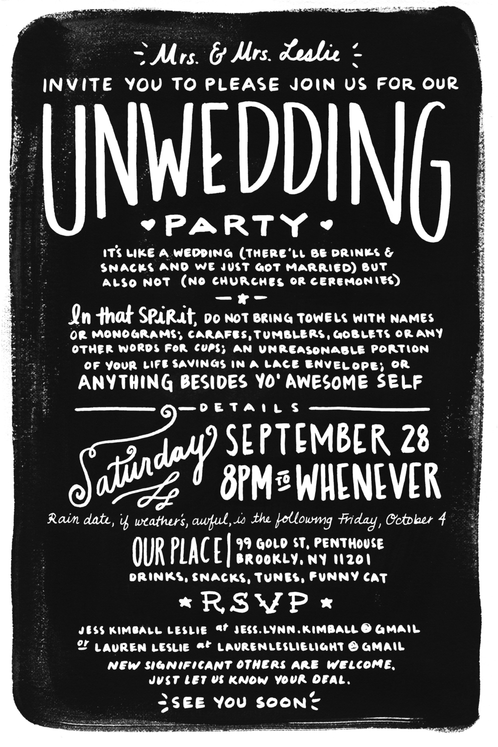 Invitation to an Unwedding