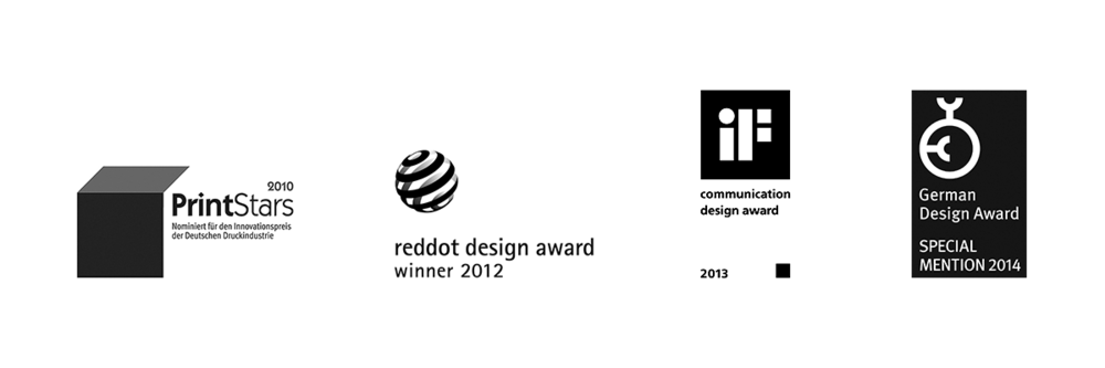 Awards - PrintStars 2010, reddot 2012, IF Communication Design Award 2013, German Design Award 2014