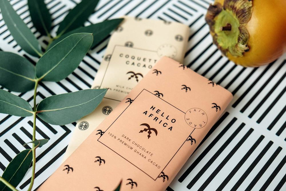 Design Chocolate Bars with pattern packaging and plants and fruit