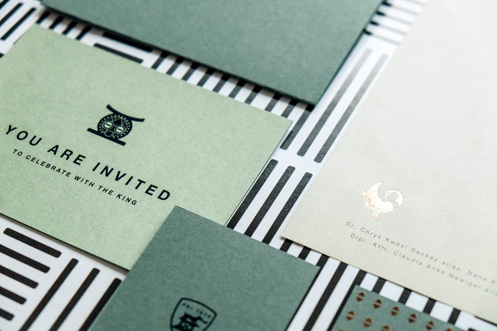 Design green stationary with greeting cards, business cards and a letterhead with copper foil embossing and icons