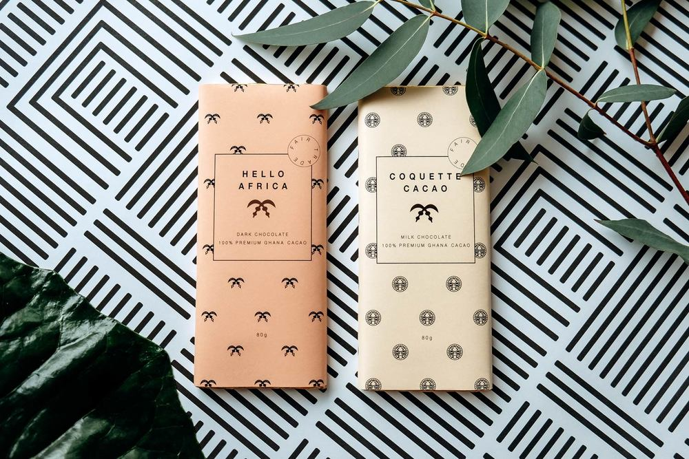 Design Chocolate Bars with pattern packaging and plants