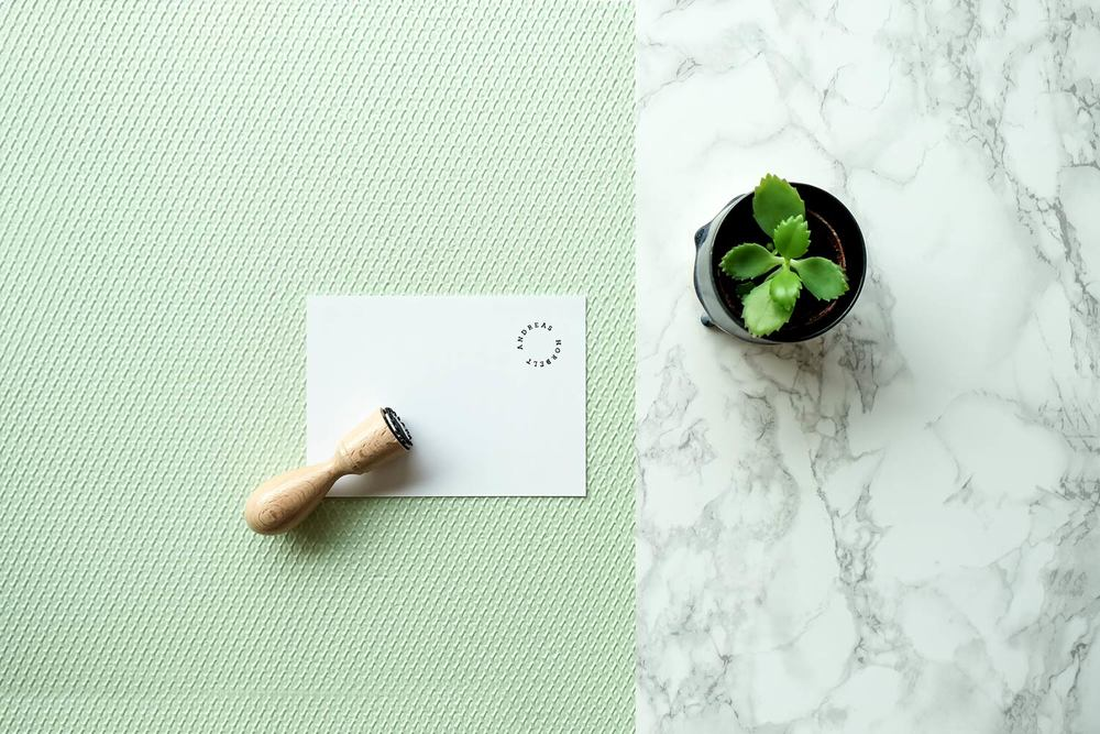 Hanko stamp, succulent and greeting card on green textured surface