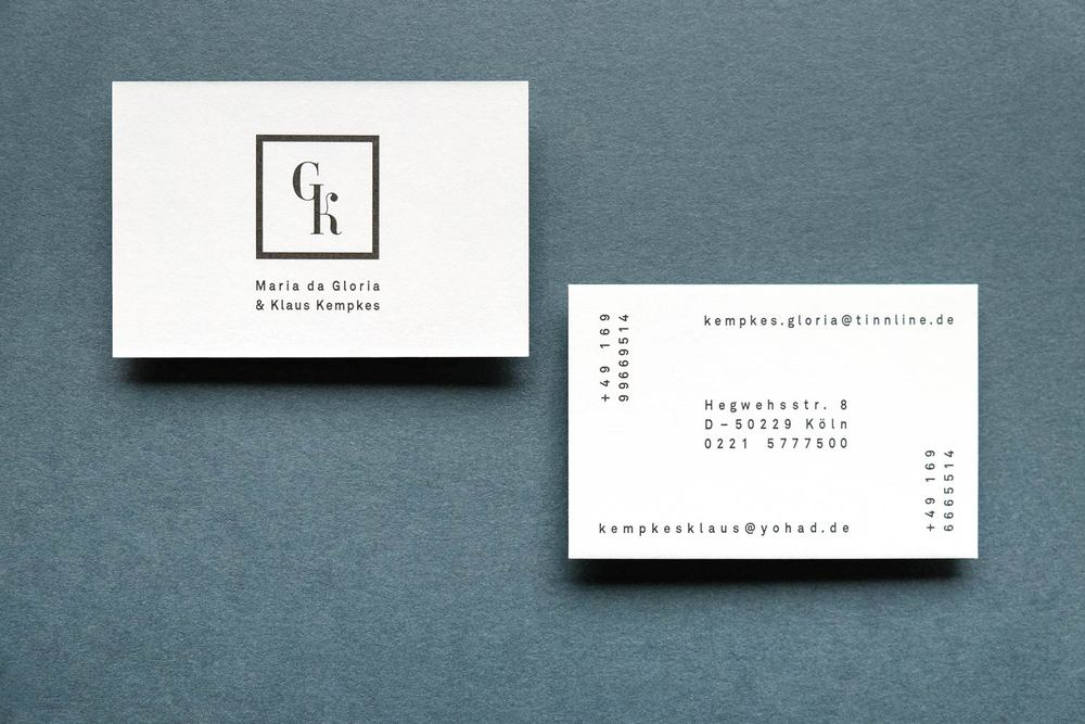 Beautiful business cards with unique typography on blue background