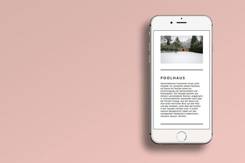 Responsive architecture website on a white iPhone on a pink background