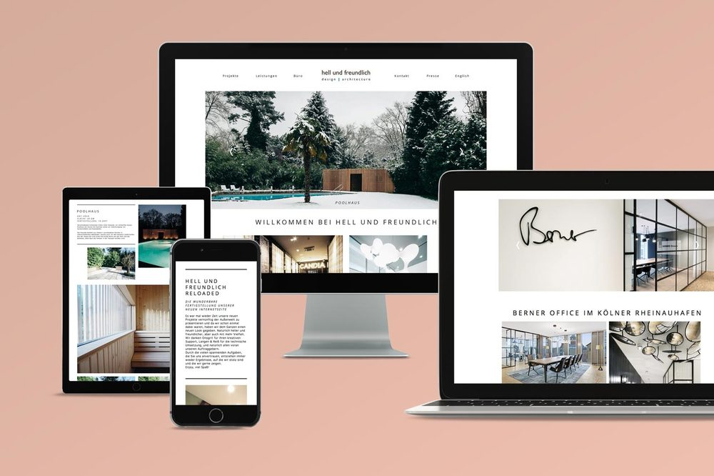 Responsive architecture website on an iPhone, iPad, Desktop and Laptop on a pink background