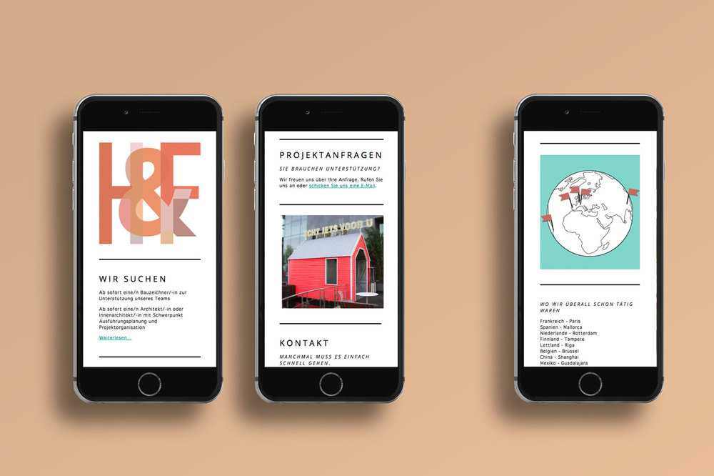 Responsive architecture website on three black iPhones on an orange background