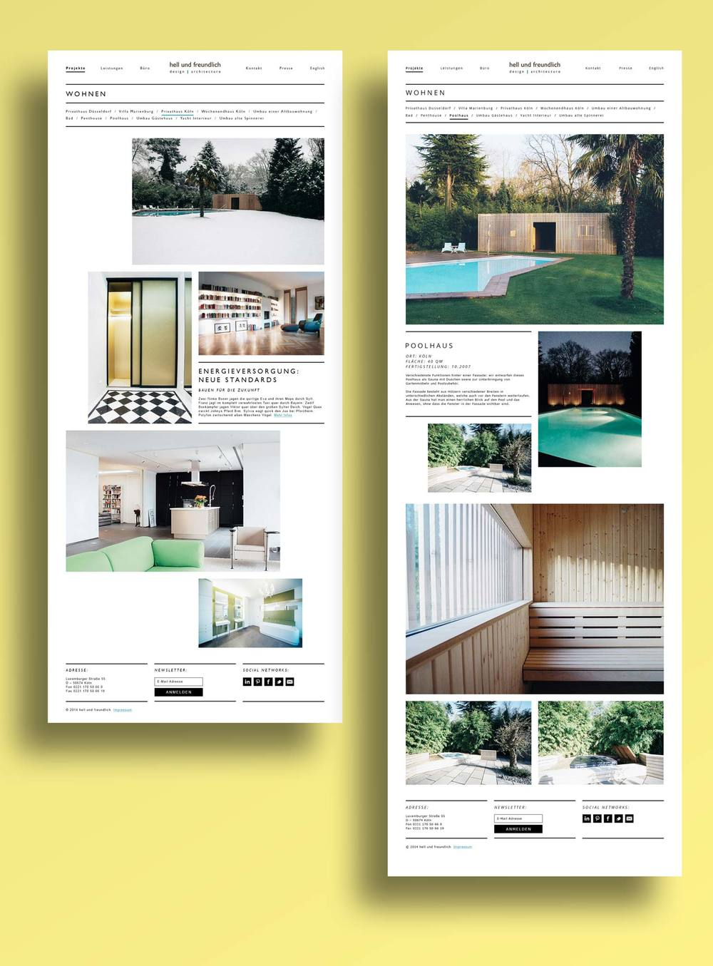 Responsive architecture website screens on a yellow background