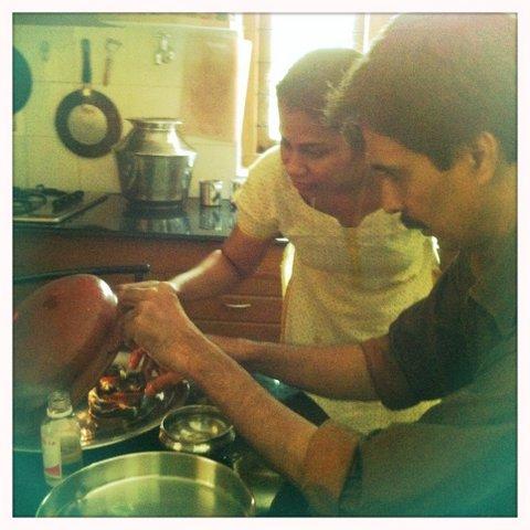 Drs. Suma and Sathya making medicine