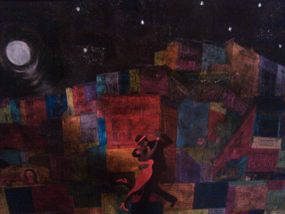 "Tango en Bariloche    Acrylic/Mixed Media  45"" x 45""   $350.00  Collection of Kelly Ondarza"