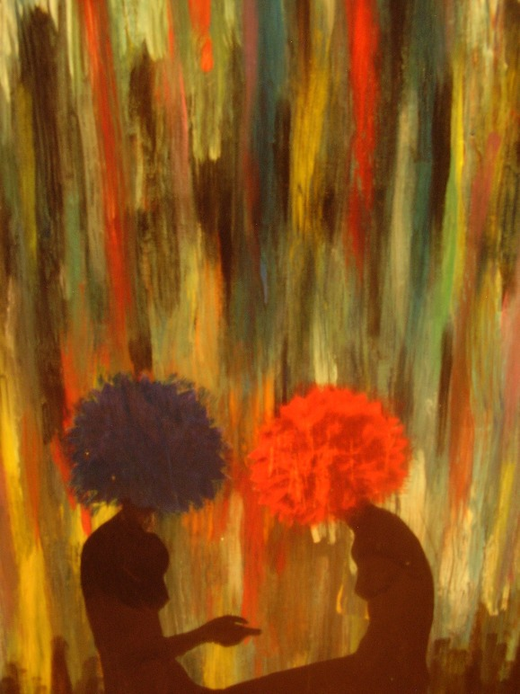 "Conversation of a Flower Child  Acrylic/Mixed Media  18"" x 24""   $450.00  Available"