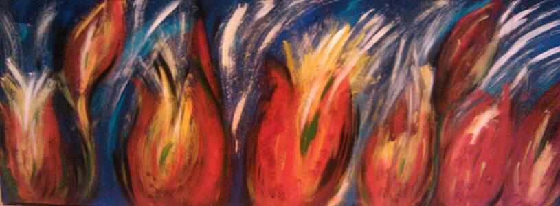 "Finding the Light We Have Not Seen  Acrylic/Mixed Media  12"" x 36""   $350.00  Available"