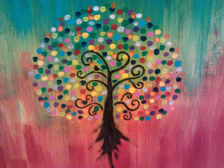 "The Tree of Life  Acrylic/Mixed Media  16"" x 20""  (Collection of Mendi Hanna)"