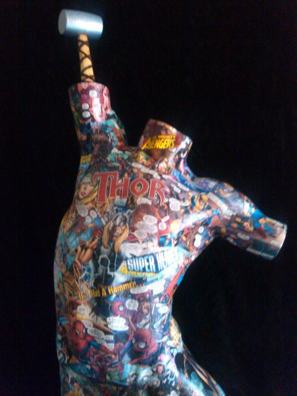 "Comicmania  Mixed Media Mannequin  18"" x 36""   $800.00  Available"