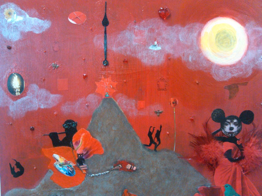 """Zero and Mona See Red...Part 2  Acrylic/Mixed Media  25"""" x 25""""  (Collection of Mary Pettet)"""
