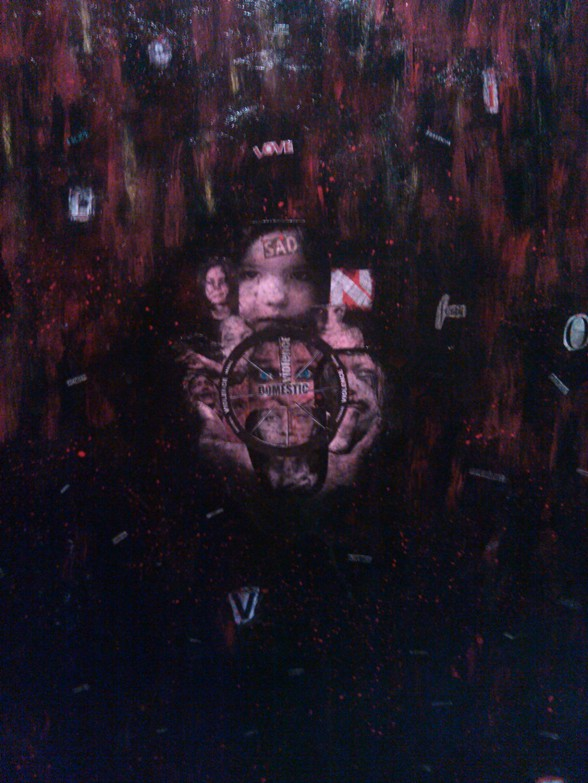 "Deliver Us From Evil  Acrylic/Mixed Media  30"" x 42""   $700.00  Available"