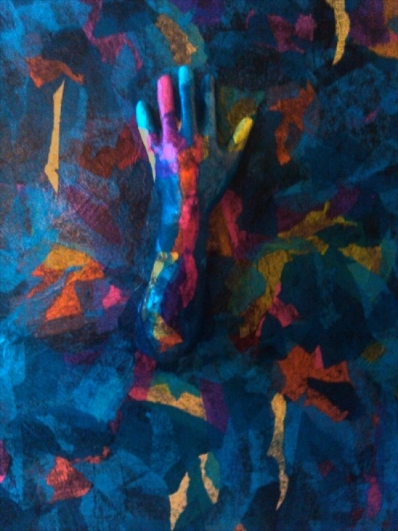 """Beyond the Blue  Mixed Media  26"""" x 29.5""""  $600.00  Available"""