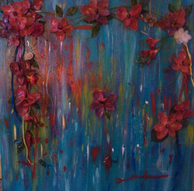 "Gather The Wild Flowers    (Gather the Wild Flowers Series)   Acrylic/Mixed Media  35"" x 35""   $700.00  Available"