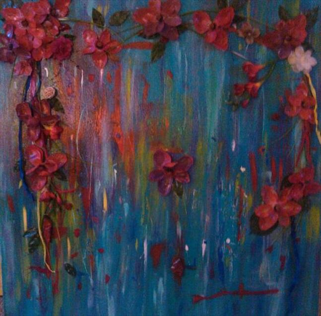"""Gather The Wild Flowers   (Gather the Wild Flowers Series)  Acrylic/Mixed Media  35"""" x 35""""  $700.00  Available"""