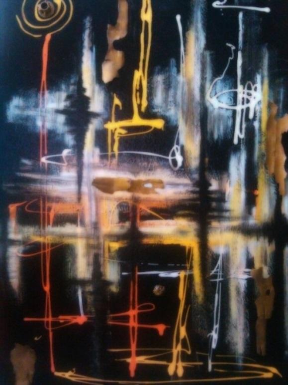 """Wrought Neon   Acrylic/Mixed Media  24"""" x 36""""  $650.00  Available"""