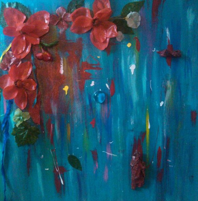 "Crimson Symbol of a Dream    (Gather the Wild Flower Series)   Acrylic/Mixed Media  20"" x 20""   $350.00  Available"