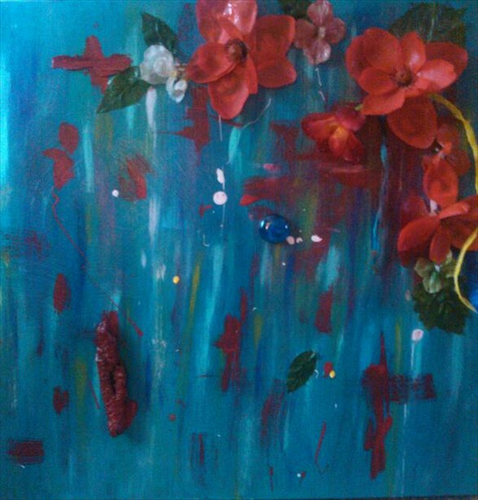 "Southern Lily Red    (Gather the Wild Flower Series)   Acrylic/Mixed Media  20"" x 20""   $350.00  Available"