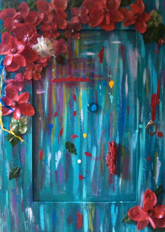 """Vision of Red Lilies   (Gather the Wild Flowers Series)  Acrylic/Mixed Media  19.5"""" x 28""""  (Collection of Kelly Ondarza)"""