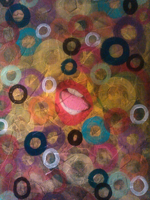 "Shout    Acrylic/Mixed Media  23"" x 35""   $500.00  Available"