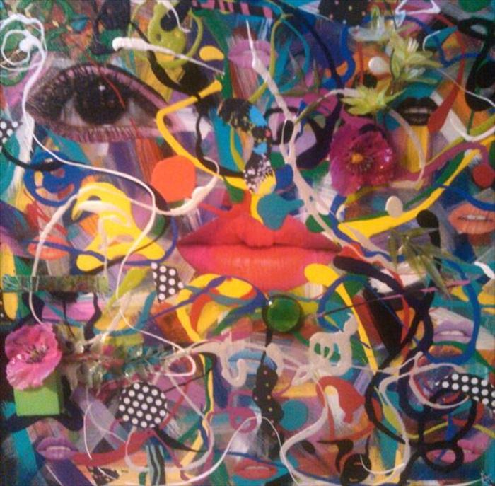 """Colorin Colorado   Acrylic/Mixed Media  16.5"""" x 16.5""""  $300.00  Available"""