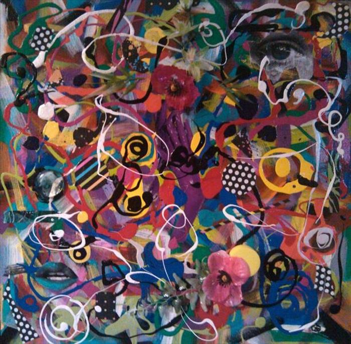 """Juego de Manos   Acrylic/Mixed Media   16.5"""" x 16.5""""  $300.00  Available"""