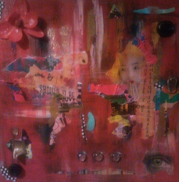 "Urban Geisha  Acrylic/Mixed Media  20"" x 20""  $400.00  Available"