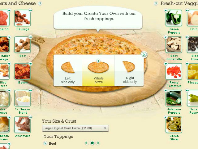 Papa Johns Pizza Configurator / Builder (0:39)