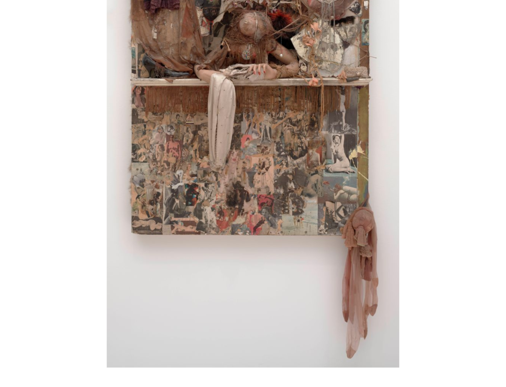 Bruce Conner, LOOKING GLASS, 1964; Mannequin arms, dried blowfish, painted wood, mirror, fringe, shoe, heart-shaped, cut and pasted printed papers, paint, nylon, fabric, jewelry, beads, string, doll voice box, fur, artificial flowers, feathers, garter clip, tinsel, and metal on Masonite, 60 1/2 x 48 x 14 1/2 in. (153.67 x 121.92 x 36.83 cm); Collection SFMOMA, San Francisco Museum of Modern Art. Gift of the Modern Art Council; © Conner Family Trust, San Francisco / Artists Rights Society (ARS), New York  sfmoma.org