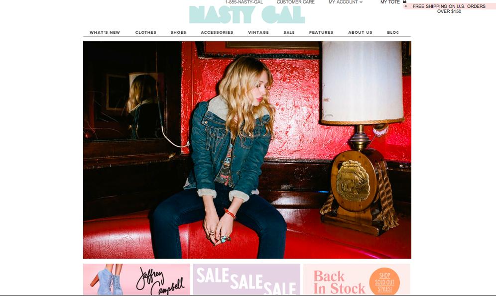 NastyGal Home Page