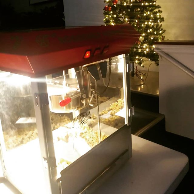 Popcorn machine is in place for Christmas movies.  Just another stop at Christmas Town #southsidechristmas #Sarasota #SarasotaChristmas #Christmas