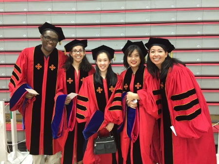 Some of the spring MOCB graduates (L to R):  Jules Nchoutmboube, Ashley Nazario Toole, Faith Kung, Mona Wu Orr, and Kayla Valdes.  Congrats!