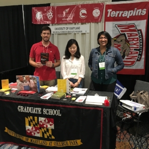 Josh Kiner (ENTM Admin Coordinator), Julie Choi (MOCB, Cao Lab),  Pravrutha Raman (MOCB, Jose Lab) recruit new students at the AHEAD Conference.