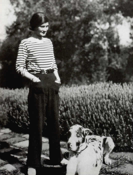 Breton stripes and trousers: Chanel's style was not only influenced by men, it was often literally menswear.