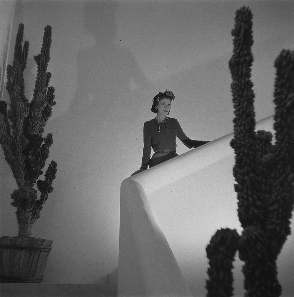 """A woman of rare taste,"" Chanel is pictured here in the Monte Carlo home she built with a grand staircase for dramatic entrances."