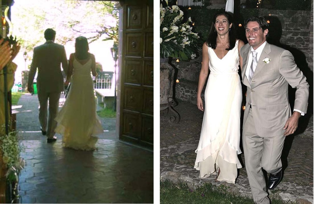 AN ATHLETE AND FORMER MODEL, THE BRIDE WANTED A DANCING GOWN WITH THE SIMPLIFIED ELEGANCE OF NATURAL BIAS DRAPE FOR HER WEDDING IN THE HISTORIC VILLAS OF SAN MIGUEL, MEXICO.  THE DESIGN FOCUSED ON A LOW FRONT V TO HIGHLIGHT HER NUDE SKIN WITH A NIPPED WAISTLINE SPILLING INTO A FLUTTERING LAYERED HEM.  THE DRAMATIC BEAUTY OF THE GOWN IN MOVEMENT WAS ENHANCED BY LAYERING THE HEM INTO THREE SHADES OF WHITE SILK DOUBLE GEORGETTE.