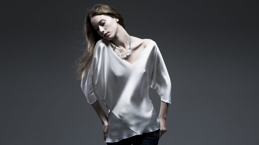 V-NECK BIAS SQUARE TOP IN WHITE CREPE BACK SATIN & crystal choker, a design that GREW a business